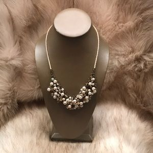 Express Pearl & Clear Stone Necklace